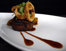 Mushroom & Onion Prepared Steak with King Trumpet Mushroom, Fried Cippollini Rings, Madeira Pink Peppercorn Reduction at 1700 Degrees Steakhouse in Harrisburg
