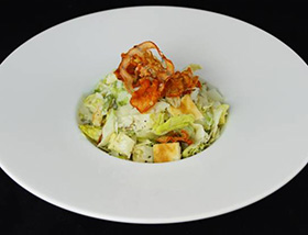 Caesar Salad with Sundried Tomato Bagel Crisps, Piave, Anchovy, House Dressing. Dinner at 1700 Degrees Steakhouse in Harrisburg, PA