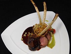 Colorado Lamb Chops with Sorrel, Hazelnut, Cauliflower Pave, Crispy Tomato. Dinner at 1700 Degrees Steakhouse in Harrisburg, PA