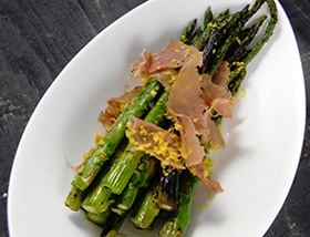 Grilled Asparagus, Prosciutto, Cured Egg Yolk. Dinner at 1700 Degrees Steakhouse.