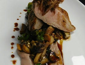 Joe Jurgielewicz Duck Breast with Leg Confit, Soshito and Mushroom Hash, Jalapeno Honey, Parsnip, Pomegranate. Dinner at 1700 Degrees Steakhouse in Harrisburg, PA