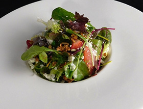 Petite Greens Salad with Strawberry, Grapefruit, Cypress Grove Humboldt Fog, Toasted Oats, Moscato Vinaigrette. Dinner at 1700 Degrees Steakhouse in Harrisburg, PA