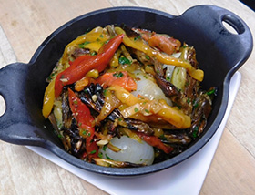 Roasted Artichokes, Peppers, Cipollini Onions. Dinner at 1700 Degrees Steakhouse in Harrisburg, PA