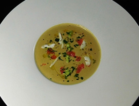 Softshell Crab Bisque with Avocado Cream, Grapefruit Oil, Mint. Dinner at 1700 Degrees Steakhouse in Harrisburg, PA