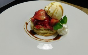 Strawberry Shortcake with Cyprus Grove Purple Haze Gelato, Fennel Pollen, Minted Balsamic Syrup. Dessert at 1700 Degrees Steakhouse