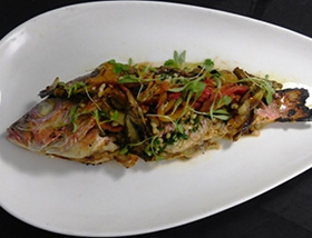 Whole Red Snapper with Artichoke, Pepperonata, Olive, Pine Nut and Chive Persillade. Dinner at 1700 Degrees Steakhouse in Harrisburg, PA