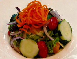 House Salad with Field greens, Tomato, Cucumber, Carrot, Red Onion, Balsamic Vinaigrette at 1700 Degrees Steakhouse in Harrisburg