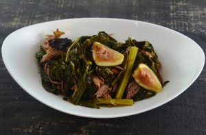 Braised Collard Greens, Fig, Ham Hock at 1700 Degrees Steakhouse in Harrisburg PA
